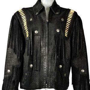Tribe America Black Leather Warrior Moto Jacket